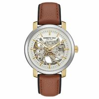 Silver Skeleton Automatic Watch with Honey Brown Leather Band BY KENNETH COLE