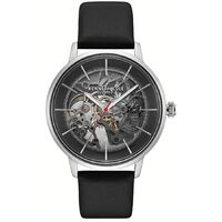 Silver Skeleton Automatic Watch with Black Leather Band BY KENNETH COLE