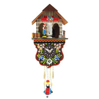 CHALET BATTERY CLOCK ALPINE FLOWERS WITH TUDOR WEATHER HOUSE BY TRENKLE