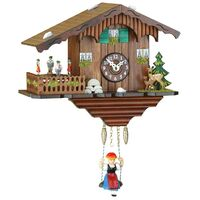 CHALET BATTERY CLOCK DEER AND DANCERS ON PLATFORM BY TRENKLE