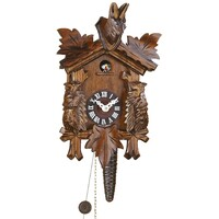 CARVED 1 DAY GOAT & MARMOT QUARTER HOUR CUCKOO CLOCK BY TRENKLE