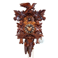 CARVED 1 DAY LEAF WITH MOVING BIRDS 32CM CUCKOO CLOCK BY HONES