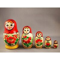 Kirov Russian Nesting Dolls 5 Set With Red Scarf & Yellow Dress 9cm