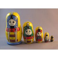 THOMAS THE TANK ENGINE RUSSIAN NESTING DOLLS YELLOW SMALL 5 SET 11CM