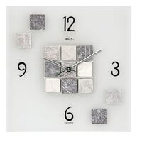 30cm Frosted Glass Square Wall Clock With Grey Stone By AMS