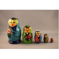 Tin Solider With Bear Russian Nesting Dolls Small 5 Set 11cm
