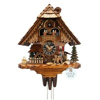 CHALET 1 DAY SHINGLE CUTTER WITH DOG AND WATER WHEEL 36CM CUCKOO CLOCK BY HONES