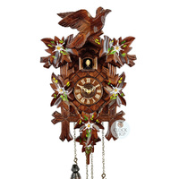 Carved Battery White Handpainted Flowers 35cm Cuckoo Clock By TRENKLE