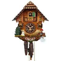 CHALET WITH DOG AND WATER TROUGH 1 DAY 22CM CUCKOO CLOCK BY TRENKLE