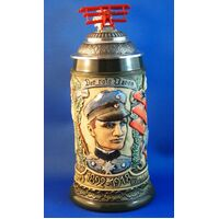 RED BARRON BEER STEIN WITH FIGHTER PLANE ON PEWTER LID BY KING