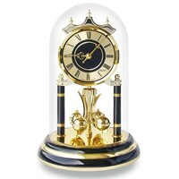 Black & Brass Two Tone Anniversary Clock Roman Numerals 23cm,