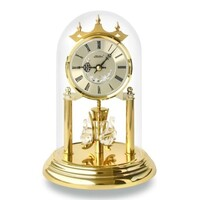 GOLD DIAMOND CUT DIAL ANNIVERSARY CLOCK ROMAN NUMERALS CRYSTAL SWANS 23CM BY HALLER