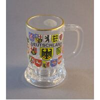 GLASS BRANDY MUG 16 STATE FLAGS WITH DEUTSCHLAND YELLOW EAGLE