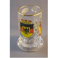 GLASS BRANDY MUG /SHOT GLASS DEUTSCHLAND CREST WITH FLAGS