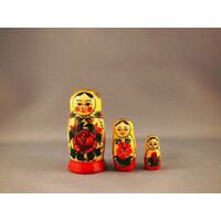 SEMENOV RUSSIAN NESTING DOLLS 3 SET WITH YELLOW SCARF & RED DRESS 7CM