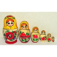 Kirov Russian Nesting Dolls 6 Set With Yellow Scarf & Red Dress 12cm