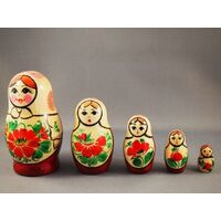 KIROV RUSSIAN NESTING DOLLS 5 SET WITH WHITE SCARF & RED DRESS 10CM