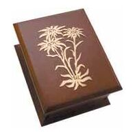 Wooden Musical Jewellery Box With Metal Edelweiss Decal Tune Edelweiss