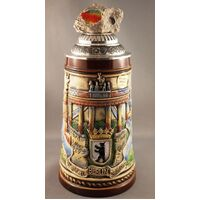 CHECKPOINT CHARLIE BERLIN WALL BEER STEIN WITH ROCK ON TOP OF PEWTER LID BY KING