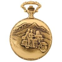 GOLD PLATED POCKET WATCH WITH TOURING COUPLE ON BIKE BY CLASSIQUE
