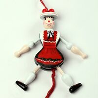 GIRL IN BLACK/RED DRESS JUMPING JACK 12CM