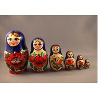 Kirov Russian Nesting Dolls 6 Set With Purple Scarf & Red Dress 12cm