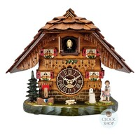 Chalet Battery Table Clock With Girl And Geese 22cm Cuckoo Clock By TRENKLE
