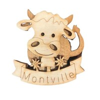MONTVILLE WOOD COW FRIDGE MAGNET