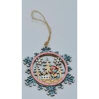 Snowman In Snowflake Christmas Tree Decoration 8cm