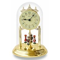 FLOWER DIAL ANNIVERSARY CLOCK ARABIC NUMERALS BLACK FOREST FIGURINES 23CM