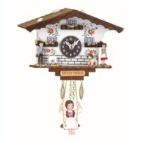 CHALET BATTERY CLOCK WHITE HEIDI HOUSE WITH ALPINE FLOWERS BY TRENKLE