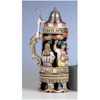 OKTOBERFEST BEER STEIN WITH MUSIC BASE AND PEWTER LID BY KING