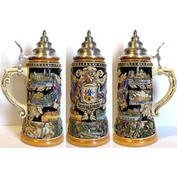 AUSTRALIAN STATES BEER STEIN WITH PEWTER LID BY KING