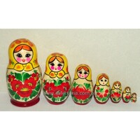 Kirov Russian Nesting Dolls 7 Set With Yellow Scarf & Red Dress 15cm