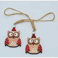 Owl In Santa Hat Christmas Tree Decoration 6cm