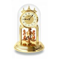 BRASS DIAL ANNIVERSARY CLOCK WITH HAND PAINTED FIGURINES ARABIC NUMERALS 23CM