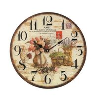 BEIGE BATTERY WALL CLOCK FLOWERS IN JUG GLASS ROUND 40CM BY AMS