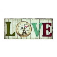 White Wash Glass Battery Wall Clock With Love Print By AMS