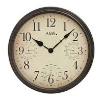 INDOOR / OUTDOOR BATTERY WALL CLOCK WITH WEATHER DIALS BY AMS