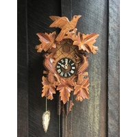 CARVED 1 DAY LEAF & BIRDS ON THE SIDE 35CM CUCKOO CLOCK BY HONES