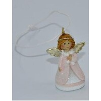 Angel Silver And Pink Christmas Tree Decoration 4cm