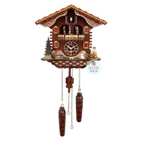 Chalet Battery Beer Drinker With Dog And Dancers 35cm Cuckoo Clock ByTRENKLE