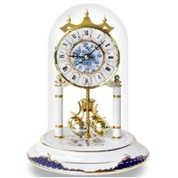 WHITE & BLUE PORCELAIN DIAL ANNIVERSARY CLOCK PORCELAIN BASE 23CM