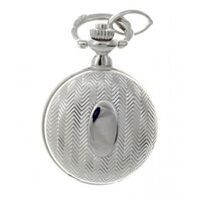 RHODIUM PLATED PENDANT WATCH WITH STRIPE ETCH BU CLASSIQUE