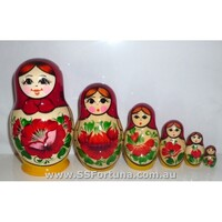 Kirov Russian Nesting Dolls 6 Set With Red Scarf & Yellow Dress 12cm