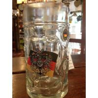 GW - Glass Beer Mug Crest - King - Isar Flag & Eagle