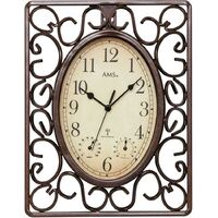 INDOOR / OUTDOOR WROUGHT IRON WALL CLOCK WITH WEATHER DIALS BY AMS