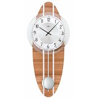 Dark Beech Pendulum Wall Clock With Silver Highlights And Silver Dial By AMS