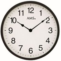 BLACK BATTERY WALL CLOCK ROUND 30CM BY AMS