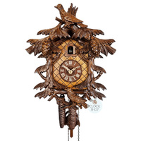 CARVED 1 DAY BIRDS WITH PINE CONES 32CM CUCKOO CLOCK BY SCHWER